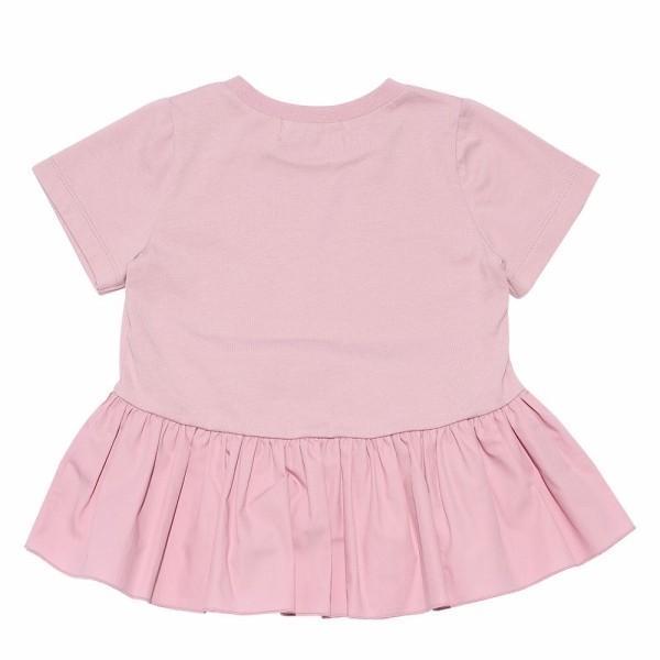 子供服 女の子 Tシャツ 半袖 普段着 通学着 綿100%リボンつき異素材ギャザー切り替えAライン ピンク 100cm 110cm 120cm 130cm むーのんのん moononnon|moononnon|03