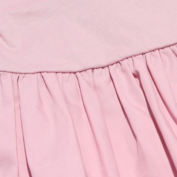 子供服 女の子 Tシャツ 半袖 普段着 通学着 綿100%リボンつき異素材ギャザー切り替えAライン ピンク 100cm 110cm 120cm 130cm むーのんのん moononnon|moononnon|05
