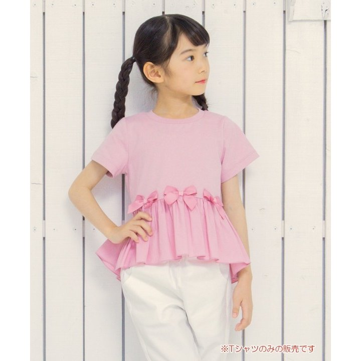 子供服 女の子 Tシャツ 半袖 普段着 通学着 綿100%リボンつき異素材ギャザー切り替えAライン ピンク 100cm 110cm 120cm 130cm むーのんのん moononnon|moononnon|08