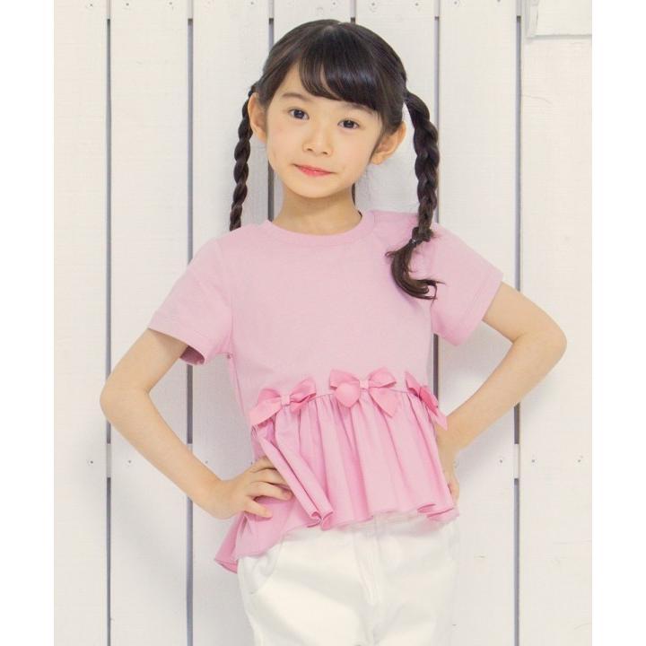 子供服 女の子 Tシャツ 半袖 普段着 通学着 綿100%リボンつき異素材ギャザー切り替えAライン ピンク 100cm 110cm 120cm 130cm むーのんのん moononnon|moononnon|10