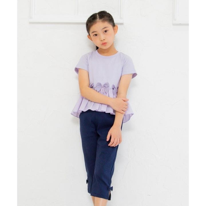 子供服 女の子 Tシャツ 半袖 普段着 通学着 リボン付き異素材ギャザー切り替えAライン パープル 120cm 130cm 140cm 150cm 160cm むーのんのん moononnon|moononnon|11