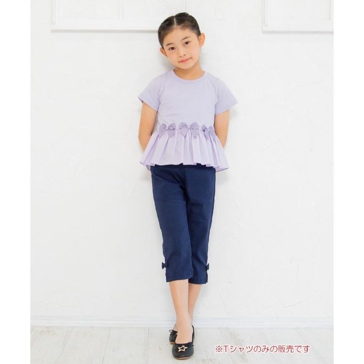 子供服 女の子 Tシャツ 半袖 普段着 通学着 リボン付き異素材ギャザー切り替えAライン パープル 120cm 130cm 140cm 150cm 160cm むーのんのん moononnon|moononnon|07
