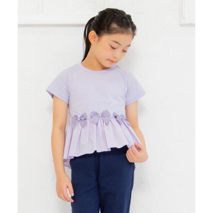 子供服 女の子 Tシャツ 半袖 普段着 通学着 リボン付き異素材ギャザー切り替えAライン パープル 120cm 130cm 140cm 150cm 160cm むーのんのん moononnon|moononnon|08