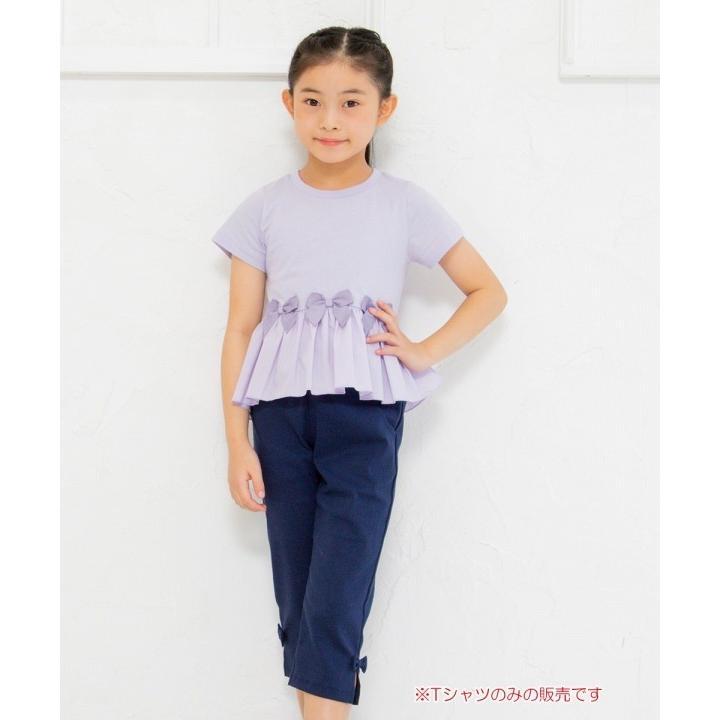子供服 女の子 Tシャツ 半袖 普段着 通学着 リボン付き異素材ギャザー切り替えAライン パープル 120cm 130cm 140cm 150cm 160cm むーのんのん moononnon|moononnon|09