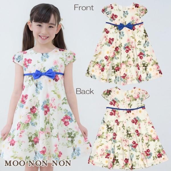子供服 女の子 ワンピース・ジャンパースカート 半袖 フォーマル 発表会 結婚式 お出かけ着 日本 綿100%花柄リボン付きAライン  むーのんのん MOONONNON|moononnon