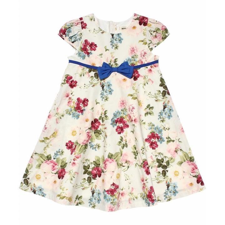 子供服 女の子 ワンピース・ジャンパースカート 半袖 フォーマル 発表会 結婚式 お出かけ着 日本 綿100%花柄リボン付きAライン  むーのんのん MOONONNON|moononnon|02