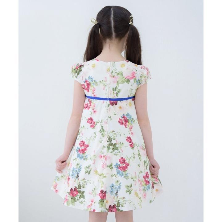 子供服 女の子 ワンピース・ジャンパースカート 半袖 フォーマル 発表会 結婚式 お出かけ着 日本 綿100%花柄リボン付きAライン  むーのんのん MOONONNON|moononnon|11