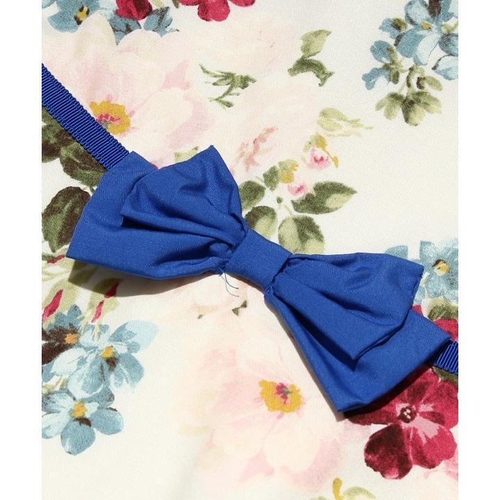 子供服 女の子 ワンピース・ジャンパースカート 半袖 フォーマル 発表会 結婚式 お出かけ着 日本 綿100%花柄リボン付きAライン  むーのんのん MOONONNON|moononnon|04