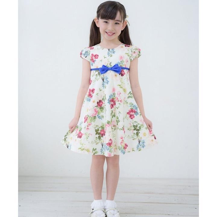 子供服 女の子 ワンピース・ジャンパースカート 半袖 フォーマル 発表会 結婚式 お出かけ着 日本 綿100%花柄リボン付きAライン  むーのんのん MOONONNON|moononnon|07