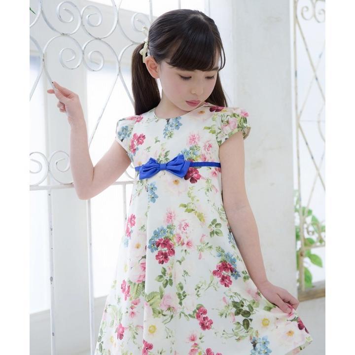 子供服 女の子 ワンピース・ジャンパースカート 半袖 フォーマル 発表会 結婚式 お出かけ着 日本 綿100%花柄リボン付きAライン  むーのんのん MOONONNON|moononnon|08