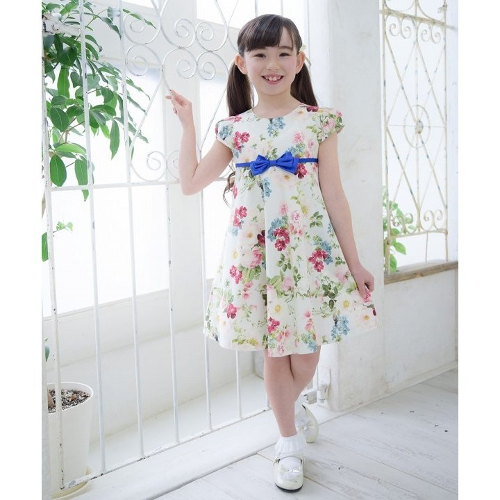 子供服 女の子 ワンピース・ジャンパースカート 半袖 フォーマル 発表会 結婚式 お出かけ着 日本 綿100%花柄リボン付きAライン  むーのんのん MOONONNON|moononnon|09