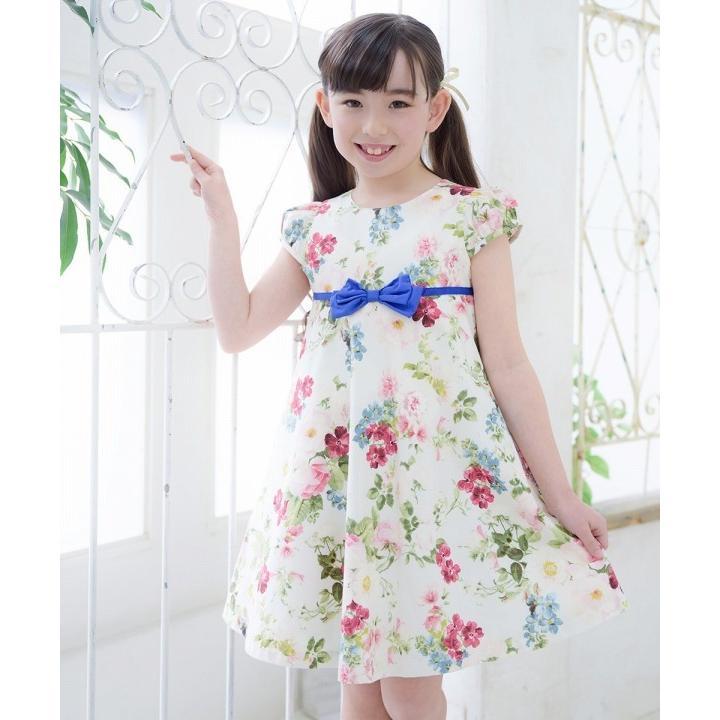 子供服 女の子 ワンピース・ジャンパースカート 半袖 フォーマル 発表会 結婚式 お出かけ着 日本 綿100%花柄リボン付きAライン  むーのんのん MOONONNON|moononnon|10