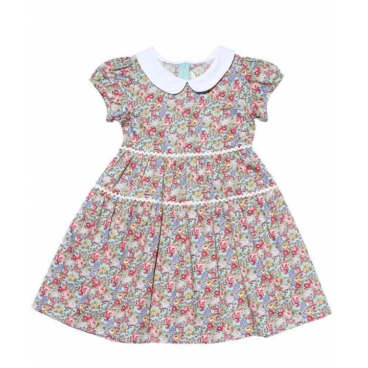 子供服 女の子 ワンピース・ジャンパースカート 半袖 普段着 お出かけ着 綿100%花柄襟付きギャザーAライン オフホワイト ブルー むーのんのん MOONONNON|moononnon|02