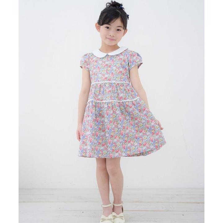子供服 女の子 ワンピース・ジャンパースカート 半袖 普段着 お出かけ着 綿100%花柄襟付きギャザーAライン オフホワイト ブルー むーのんのん MOONONNON|moononnon|11