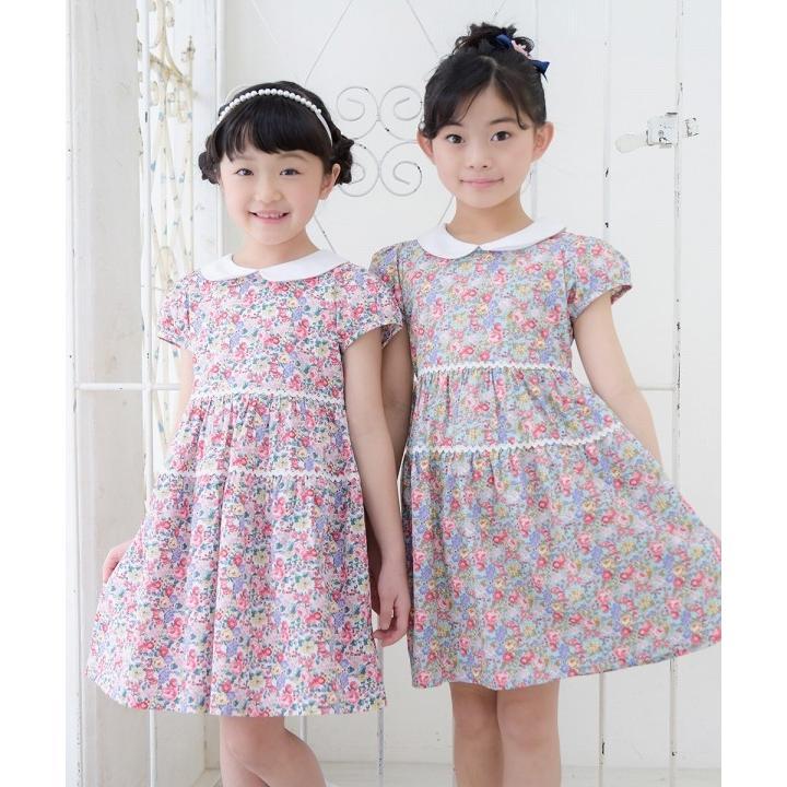 子供服 女の子 ワンピース・ジャンパースカート 半袖 普段着 お出かけ着 綿100%花柄襟付きギャザーAライン オフホワイト ブルー むーのんのん MOONONNON|moononnon|12