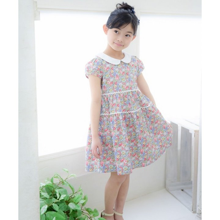子供服 女の子 ワンピース・ジャンパースカート 半袖 普段着 お出かけ着 綿100%花柄襟付きギャザーAライン オフホワイト ブルー むーのんのん MOONONNON|moononnon|14