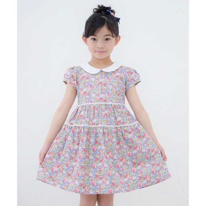子供服 女の子 ワンピース・ジャンパースカート 半袖 普段着 お出かけ着 綿100%花柄襟付きギャザーAライン オフホワイト ブルー むーのんのん MOONONNON|moononnon|15