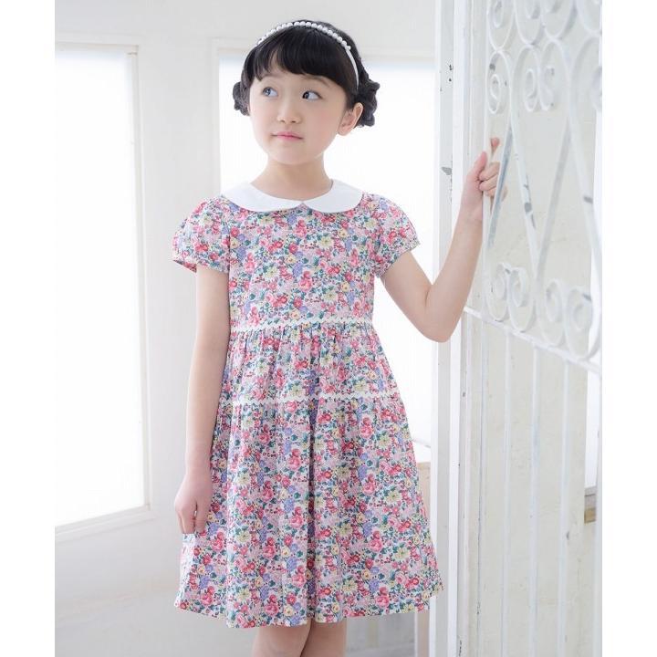 子供服 女の子 ワンピース・ジャンパースカート 半袖 普段着 お出かけ着 綿100%花柄襟付きギャザーAライン オフホワイト ブルー むーのんのん MOONONNON|moononnon|16