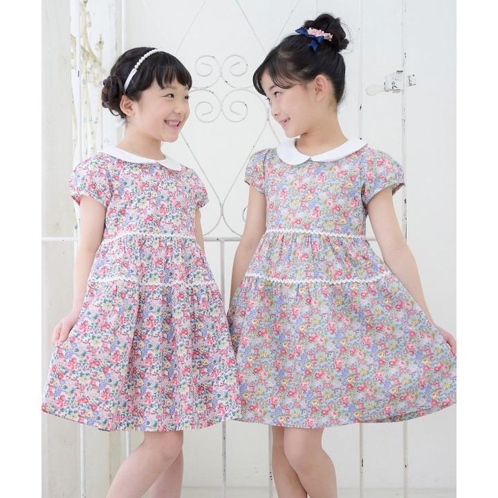 子供服 女の子 ワンピース・ジャンパースカート 半袖 普段着 お出かけ着 綿100%花柄襟付きギャザーAライン オフホワイト ブルー むーのんのん MOONONNON|moononnon|18