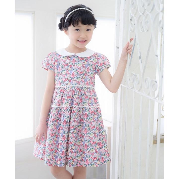 子供服 女の子 ワンピース・ジャンパースカート 半袖 普段着 お出かけ着 綿100%花柄襟付きギャザーAライン オフホワイト ブルー むーのんのん MOONONNON|moononnon|20