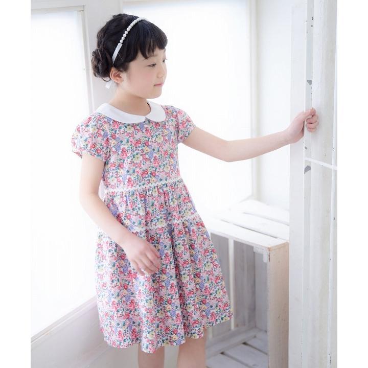 子供服 女の子 ワンピース・ジャンパースカート 半袖 普段着 お出かけ着 綿100%花柄襟付きギャザーAライン オフホワイト ブルー むーのんのん MOONONNON|moononnon|21