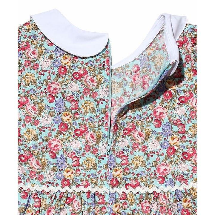 子供服 女の子 ワンピース・ジャンパースカート 半袖 普段着 お出かけ着 綿100%花柄襟付きギャザーAライン オフホワイト ブルー むーのんのん MOONONNON|moononnon|04