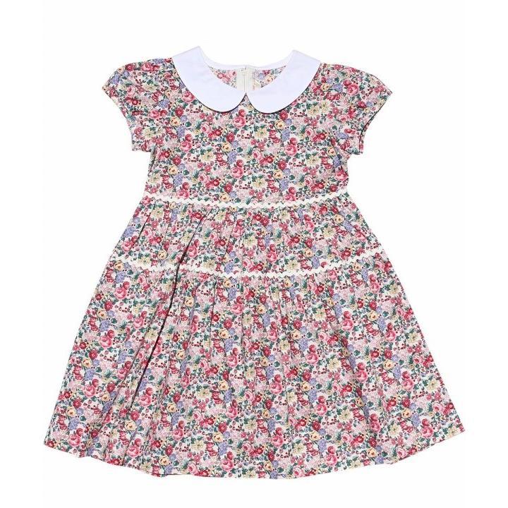 子供服 女の子 ワンピース・ジャンパースカート 半袖 普段着 お出かけ着 綿100%花柄襟付きギャザーAライン オフホワイト ブルー むーのんのん MOONONNON|moononnon|06