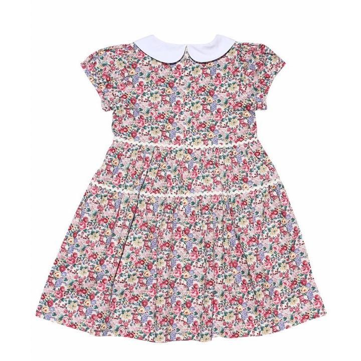 子供服 女の子 ワンピース・ジャンパースカート 半袖 普段着 お出かけ着 綿100%花柄襟付きギャザーAライン オフホワイト ブルー むーのんのん MOONONNON|moononnon|07