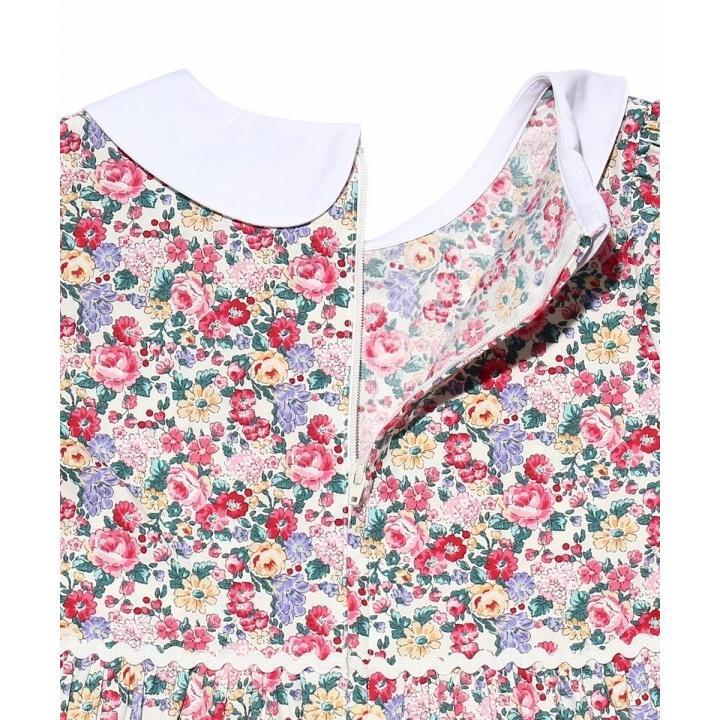 子供服 女の子 ワンピース・ジャンパースカート 半袖 普段着 お出かけ着 綿100%花柄襟付きギャザーAライン オフホワイト ブルー むーのんのん MOONONNON|moononnon|08
