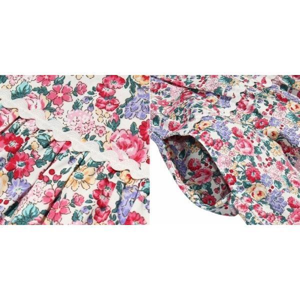 子供服 女の子 ワンピース・ジャンパースカート 半袖 普段着 お出かけ着 綿100%花柄襟付きギャザーAライン オフホワイト ブルー むーのんのん MOONONNON|moononnon|09