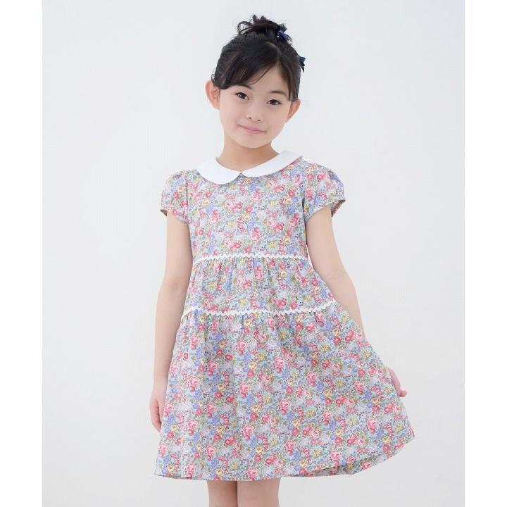 子供服 女の子 ワンピース・ジャンパースカート 半袖 普段着 お出かけ着 綿100%花柄襟付きギャザーAライン オフホワイト ブルー むーのんのん MOONONNON|moononnon|10