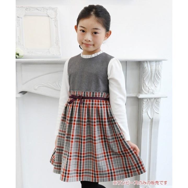 子供服 女の子 ワンピース・ジャンパースカート ノースリーブ 発表会 結婚式 フォーマル 日本製チェック柄リボン付きギャザーむーのんのん MOONONNON|moononnon|02