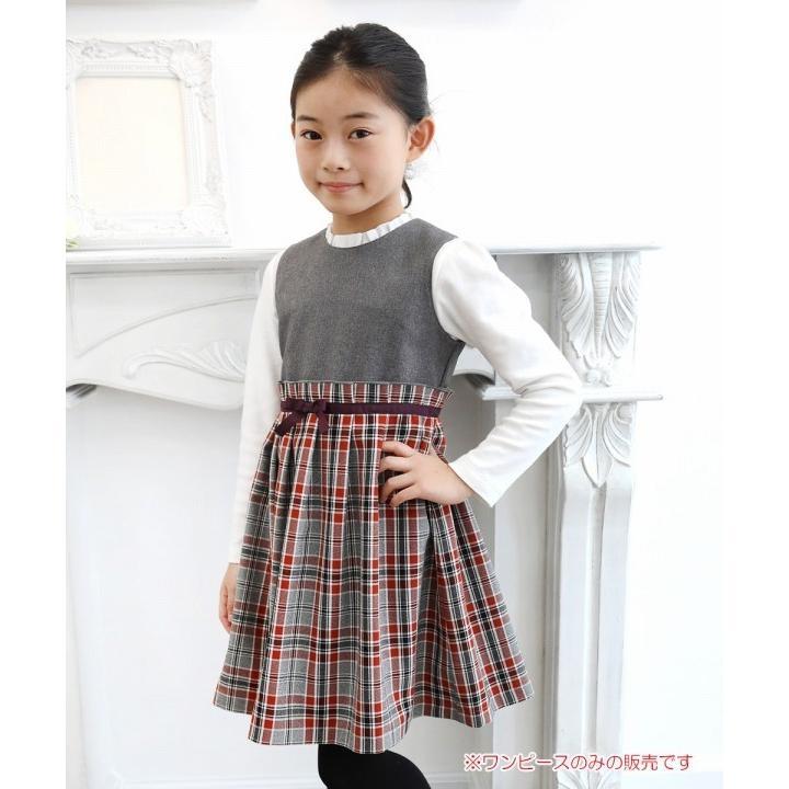 子供服 女の子 ワンピース・ジャンパースカート ノースリーブ 発表会 結婚式 フォーマル 日本製チェック柄リボン付きギャザーむーのんのん MOONONNON|moononnon|04