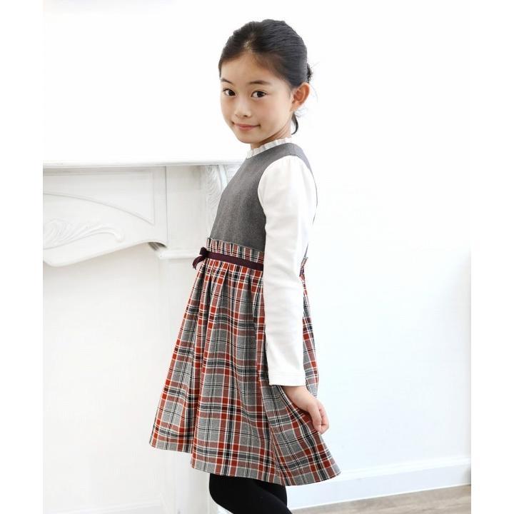 子供服 女の子 ワンピース・ジャンパースカート ノースリーブ 発表会 結婚式 フォーマル 日本製チェック柄リボン付きギャザーむーのんのん MOONONNON|moononnon|05