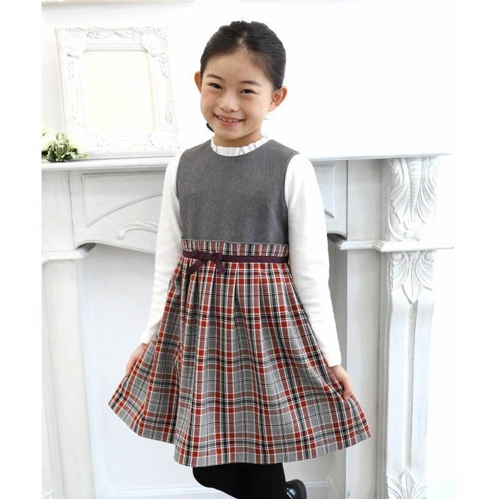 子供服 女の子 ワンピース・ジャンパースカート ノースリーブ 発表会 結婚式 フォーマル 日本製チェック柄リボン付きギャザーむーのんのん MOONONNON|moononnon|06