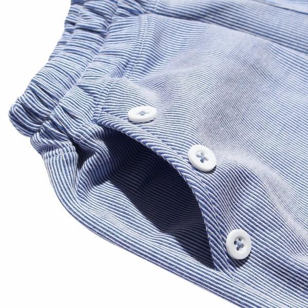 子供服 女の子 キュロット 膝丈 普段着 通学着 ストライプ柄ニット素材ポケット&飾りボタン付きウエストゴム ブラック ブルー アイアムマリリン IamMarilyn moononnon 08