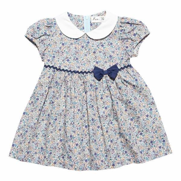子供服 女の子 ワンピース・ジャンパースカート 半袖 お出かけ着 普段着 日本製ベビーサイズ綿100%花柄リボン&襟付き アイアムマリリン IamMarilyn|moononnon|02