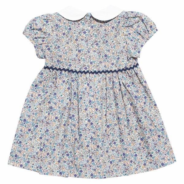 子供服 女の子 ワンピース・ジャンパースカート 半袖 お出かけ着 普段着 日本製ベビーサイズ綿100%花柄リボン&襟付き アイアムマリリン IamMarilyn|moononnon|03