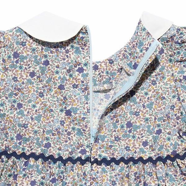 子供服 女の子 ワンピース・ジャンパースカート 半袖 お出かけ着 普段着 日本製ベビーサイズ綿100%花柄リボン&襟付き アイアムマリリン IamMarilyn|moononnon|05