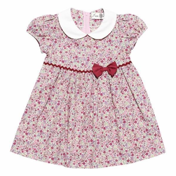 子供服 女の子 ワンピース・ジャンパースカート 半袖 お出かけ着 普段着 日本製ベビーサイズ綿100%花柄リボン&襟付き アイアムマリリン IamMarilyn|moononnon|06