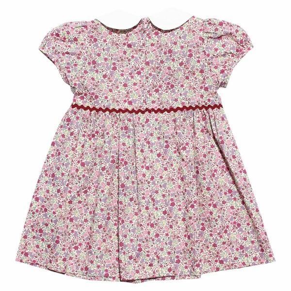 子供服 女の子 ワンピース・ジャンパースカート 半袖 お出かけ着 普段着 日本製ベビーサイズ綿100%花柄リボン&襟付き アイアムマリリン IamMarilyn|moononnon|07
