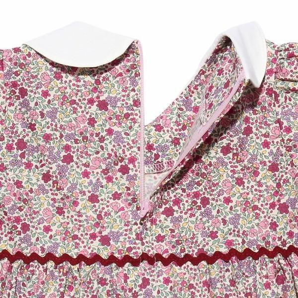子供服 女の子 ワンピース・ジャンパースカート 半袖 お出かけ着 普段着 日本製ベビーサイズ綿100%花柄リボン&襟付き アイアムマリリン IamMarilyn|moononnon|09