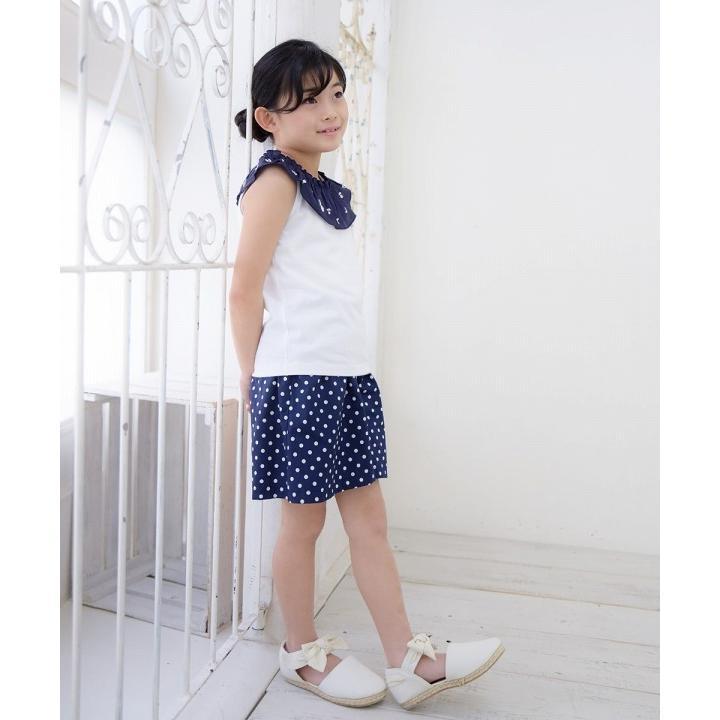 子供服 女の子 キュロット 膝丈 普段着 通学着 日本製 綿100%ドット柄ウエストゴムポケット付きキュロットパンツ アイアムマリリン IamMarilyn|moononnon|13