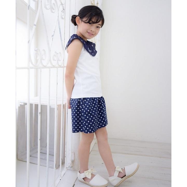 子供服 女の子 キュロット 膝丈 普段着 通学着 日本製 綿100%ドット柄ウエストゴムポケット付きキュロットパンツ アイアムマリリン IamMarilyn|moononnon|15
