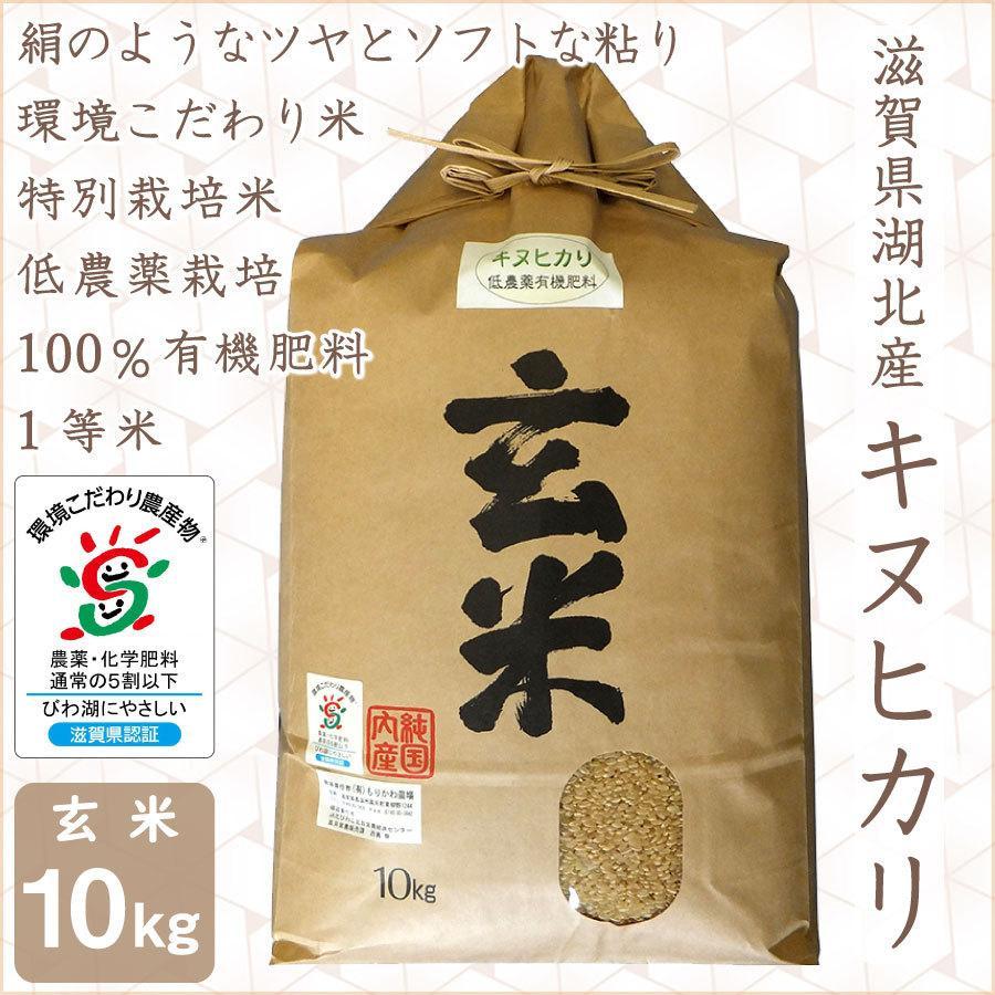 低農薬 キヌヒカリ 10kg 令和2年産 玄米 100%有機肥料 特別栽培米 1等米 滋賀県環境こだわり米|morikawa-noujou