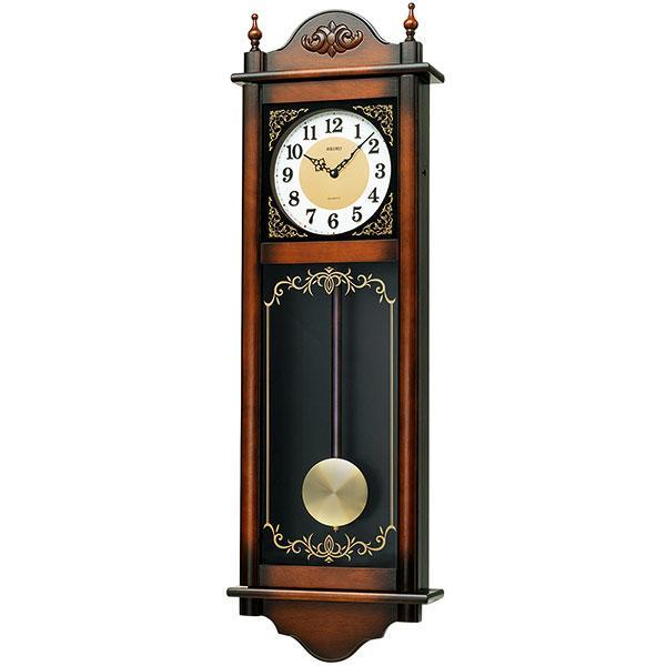 セイコー 電子音チャイムで報知する木枠の柱時計RQ307A 文字入れ対応、有料 取り寄せ品