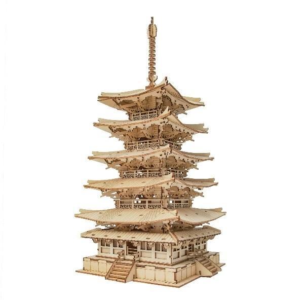 マーケット DIY つくるんです つくろう 3Dウッドパズル 高品質 五重塔 TGN02 日本語説明書付き