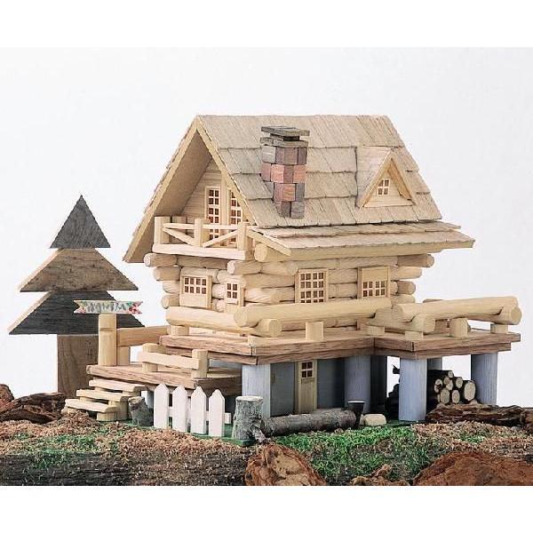 一部予約 アイスタジオ ウッズ アウトレットセール 特集 デッキのあるログハウス A20 ログハウス貯金箱 木工工作キット