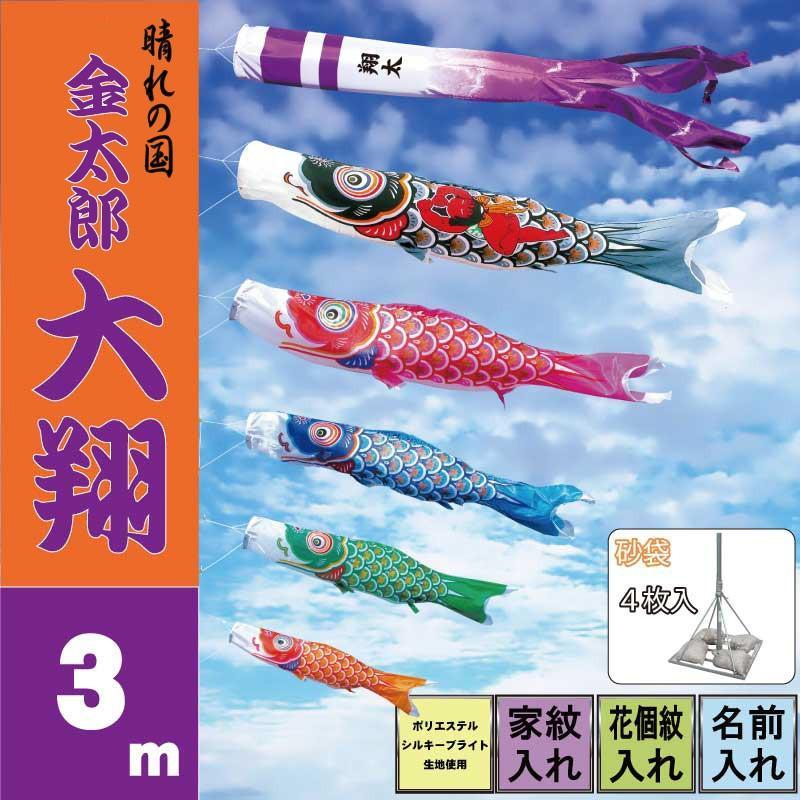 鯉のぼり こいのぼり 金太郎大翔 3m 8点 鯉5匹 砂袋スタンドタイプ 徳永鯉 庭園スタンドセット