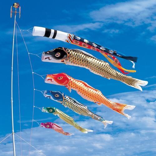 鯉のぼり こいのぼり 錦鯉 江戸錦鯉 8m 8点 5色 鯉5匹 瑞祥吹流し 大型セット